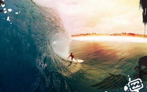 冲浪,沙滩,波浪
