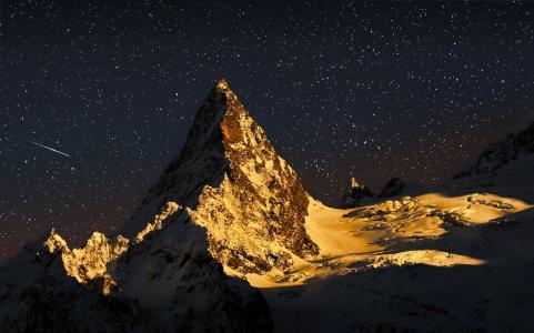 雪,月光,星星,伊恩峰,Alex Svirkin