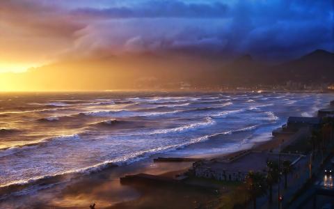海岸,海洋,波浪,山,阳光