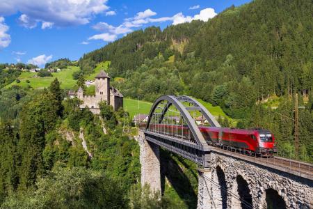 奥地利,火车,桥,山,性质