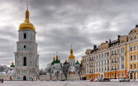基辅,冬天,圣索非亚大教堂,广场