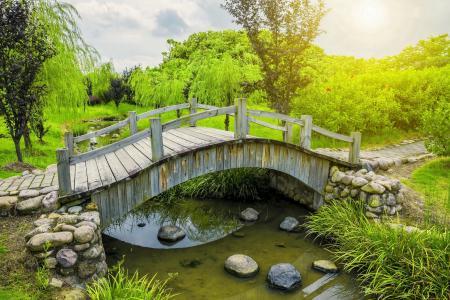 春天,桥,河,石头,树木,草,绿化