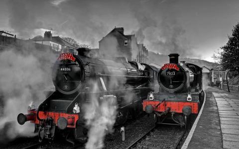 照片,灰色背景,火车,蒸汽机车,站,对