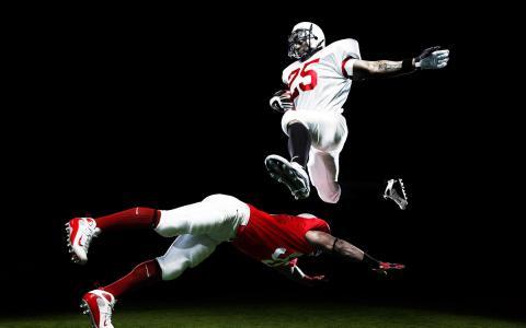 飞行,跳,足球,运动员,运动,美国