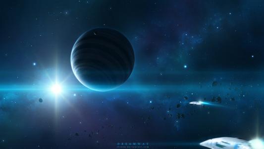 空间,宇宙飞船,艺术,宇宙,行星,明星