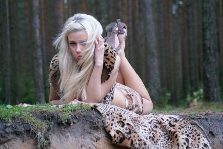 森林,女孩,说谎,皮肤,豹子