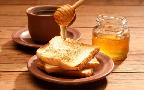银行,美味,茶,杯,食品,早餐,咖啡,吐司,蜂蜜