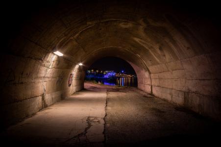 隧道,城市,夜晚,灯光,润饰,里昂