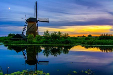 南荷兰,小孩堤坝村,磨机,河,运河,日落