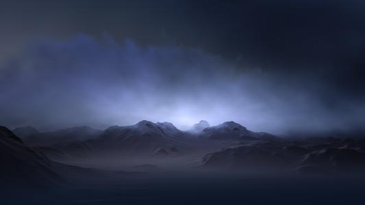Hasse Froom,光,阴霾,屏幕保护程序,寿衣,峰,发光,背景,山,雪,光辉,点,渲染,救济