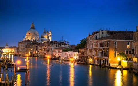 威尼斯,意大利,大运河,大运河,建筑,房屋,建筑物,晚上,照明