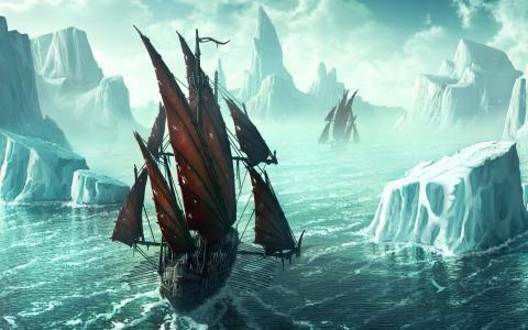 绘图,冰,冰山,海盗船,黑色的风帆
