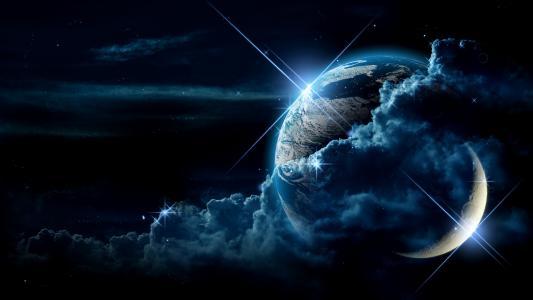月亮,星球,卫星,地球