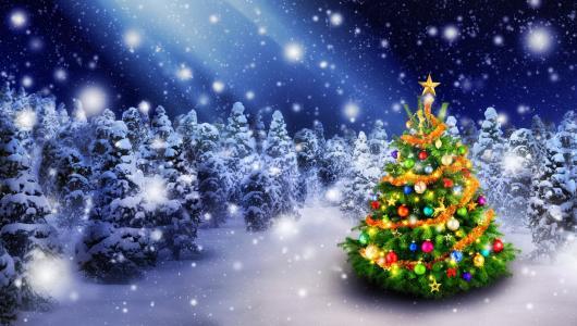 假期圣诞节,圣诞树,玩具,雪,冬天