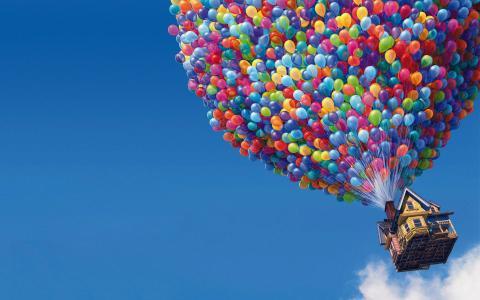 卡通,房子,飞行,球,天空
