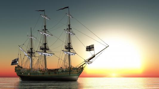 船,帆船,日出和日落,海,表面