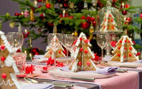 新年,桌子,眼镜,糖果,枞树