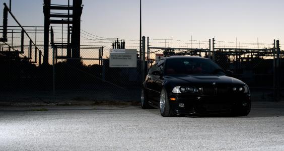 立方米,前视图,黑色,黑色,宝马,宝马,调整,E46,轿跑车