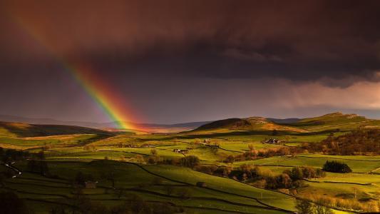 天空,房子,春天,英格兰,丘陵,田地,彩虹