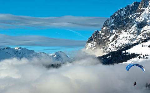 云,降落伞,山,天空
