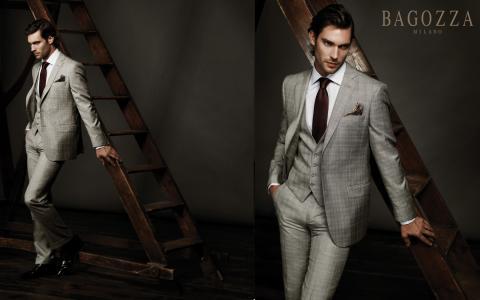 男,模型,灰色西装