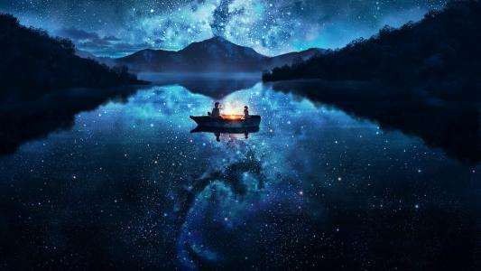 艺术,幻想,星星,山,船