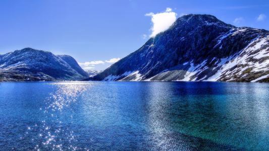 水,山,反射