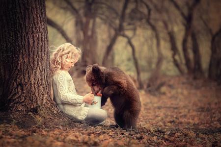 性质,治疗,儿童,女孩,头发,脸,浆果,小熊