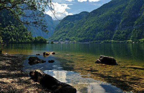 湖,奥地利,哈尔施塔特,自然