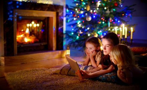 家庭,孩子,树,假期