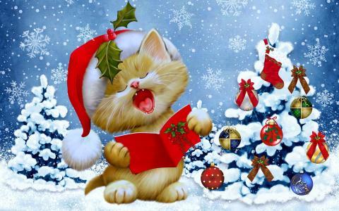 明信片,小猫,假期,圣诞树,优雅,球,玩具,雪花,帽,心情