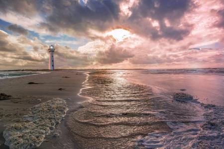 天空,海,波浪,灯塔