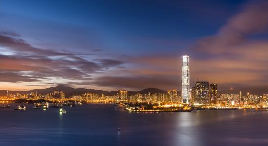 傍晚,香港,中国,中国,湾,维多利亚港,香港