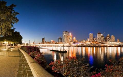 布里斯班,澳大利亚,晚上,河,桥,光,公园