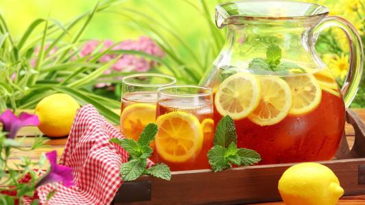 冷饮,柠檬,餐巾,滗水器,眼镜