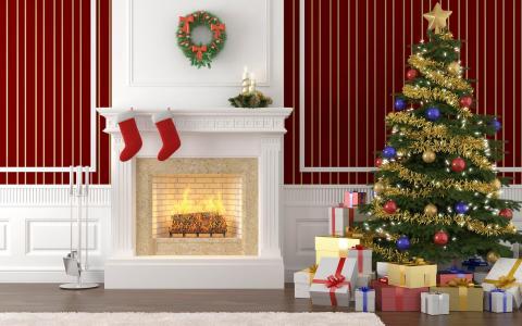 室内装饰,礼品,壁炉,圣诞树,圣诞节