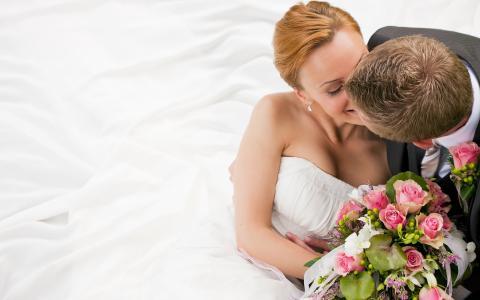 新婚夫妇,恋人,玫瑰