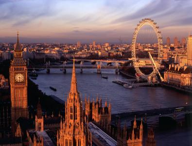 旋转木马,摩天轮,伦敦,泰晤士河
