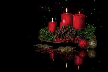 凹凸,浆果,组成,黑色背景,装饰,蜡烛,反射,球