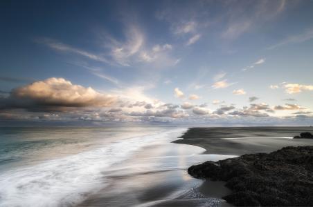 海,海岸,云,沙,晚上