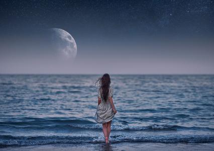 海,艺术,月亮,女孩