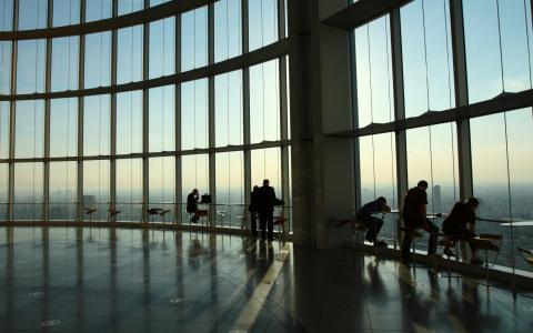 城市,视图,房屋,摩天大楼,人,男人,窗口,窗口