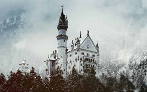 新天鹅堡,德国,城堡,冬天,黑色和白色背景
