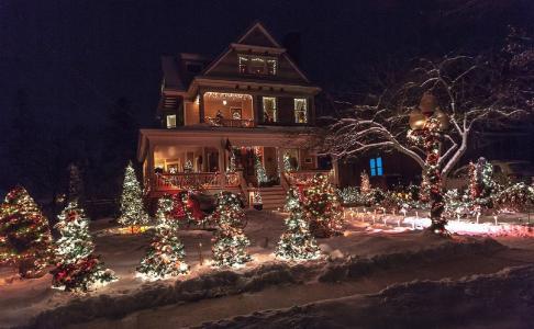 晚上,灯,新的一年,房子,冬季,雪,度假,树,晚上