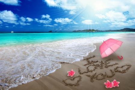 夏天,海,岸,沙滩,伞,鲜花,题词,鸡蛋花,鸡蛋花