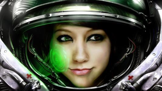 眼睛,女孩,宇航员,太空服