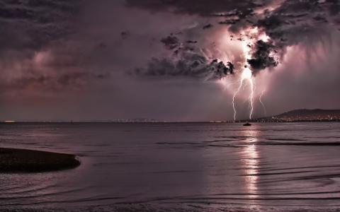 雷电,闪电,夜晚,大海