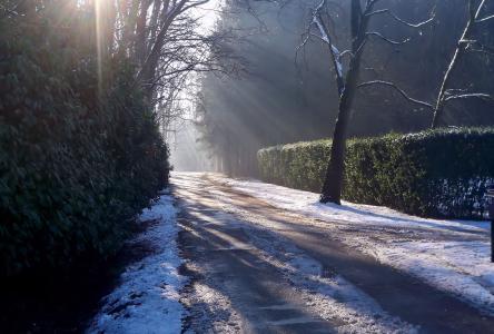 光,路,冰,雪