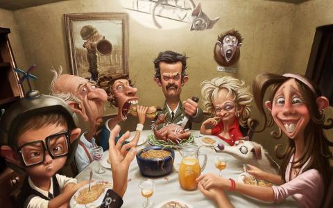 假期,晚餐,家庭,古怪