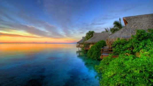 自然,夏天,度假村,海洋,日落,美丽,热带地区